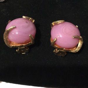 Vintage Art Deco design purple glass gold earrings